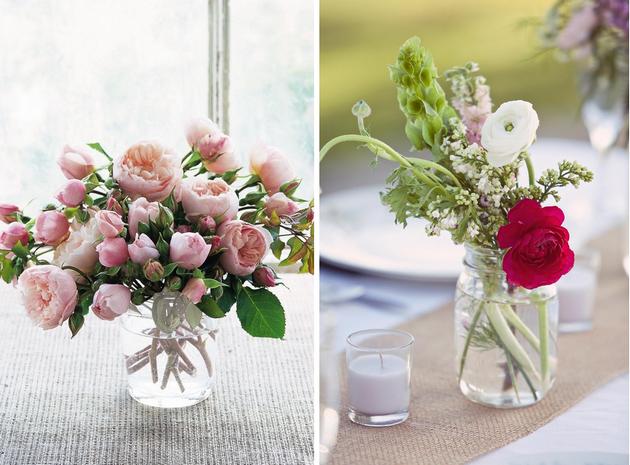Flores em vasos diferentes