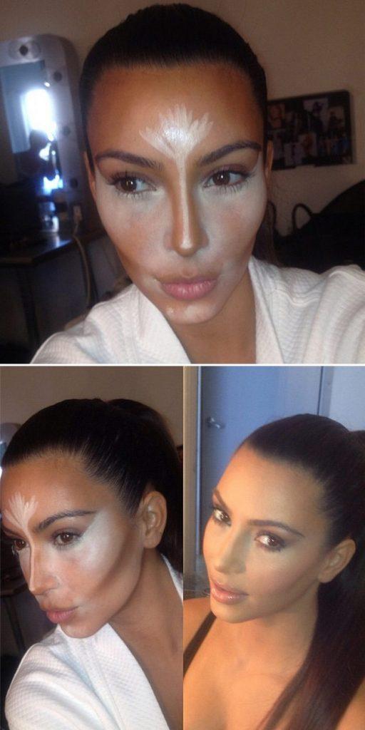 Tutorial do efeito contorno e iluminador na pele da Kim Kardashian